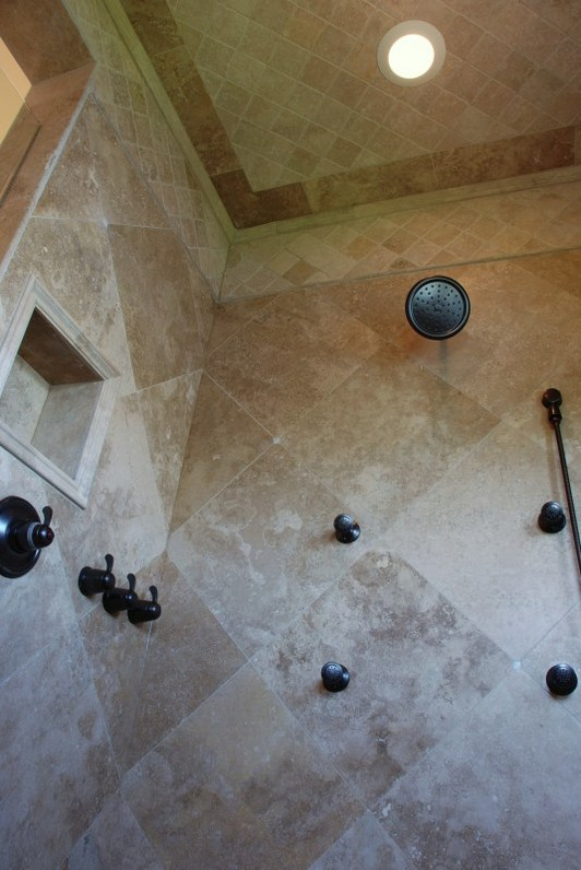Tile shower to ceiling